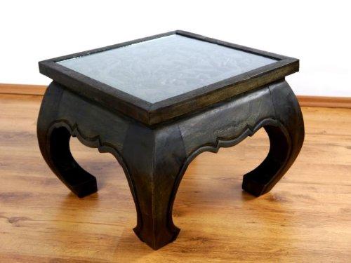Opiumtisch mit Schnitzerei 50cmx50cm, Massivholztisch, Beistelltisch, asiatischer Couchtisch (schwarz) (Schnitzerei Asiatische)