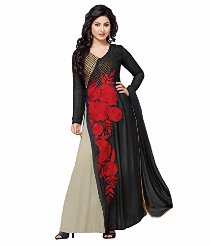 FebForrest Womens\'s Blue Cotton Attractive Indo-Western Dress Materials/Salwar Suit (Free Size) [JCN 1042 (FF_I1)]