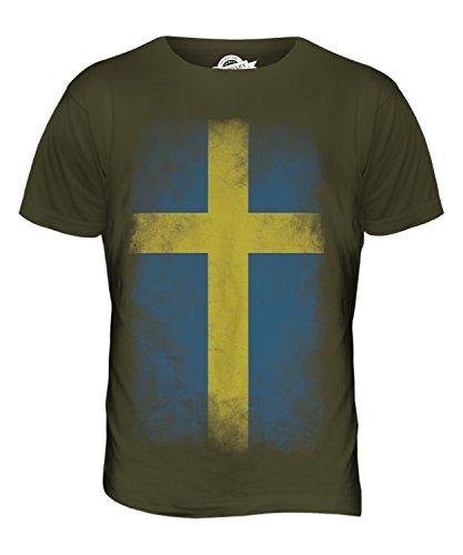 CandyMix Schweden Verblichen Flagge Herren T Shirt Khaki Grün