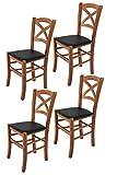Tommychairs sillas de Design - Set de 4 sillas Modelo Cross para Cocina, Comedor, Bar y Restaurante, con Estructura en Madera...