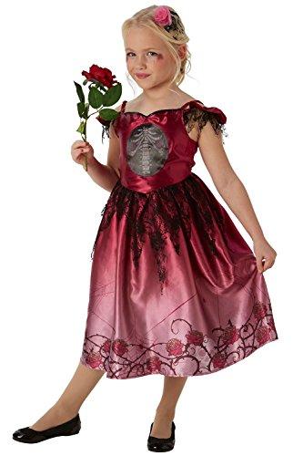 Stracci e rose, costume di halloween per bambine, vestito da scheletro, zombie, sposa cadavere