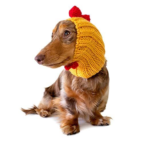 üm Hahn Hahn Hahn und Ohrwärmer Snood für Haustiere, Small, gelb ()