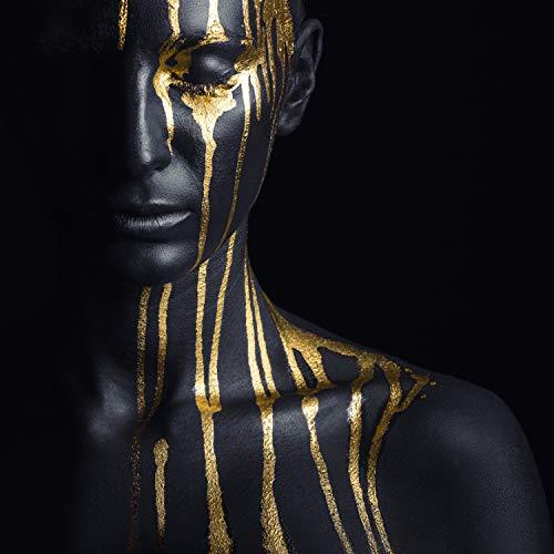 Queence   Acrylglasbild mit Blattgold   Wandbild Glasbild Acrylbild Rahmenlos   Körperbemalung   Druck auf Acrylglas   Goldveredelung   Größe: 50x50 cm