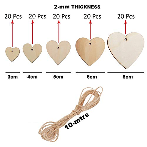 Wooden Hearts (100 Pack) - 20 x 3, 4, 5, 6 and 8 cm Unfinished Wooden Heart Shaped Embellishments with Holes for DIY Crafting, Scrap Booking, Personalised Gifts, Wedding Decor with 10 m Natural Twine
