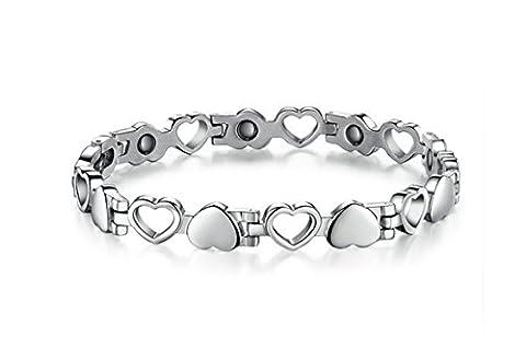 Bishilin Modeschmuck Edelstahl Armband Herren Herzen Steine Partner Armbänder Silber