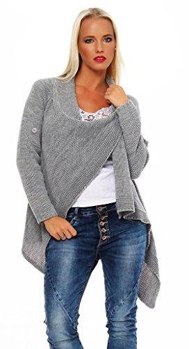 Mal Mississhop Damen Cardigan Jacke Pullover Sweatshirt grau