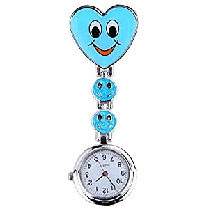 Neue Mädchen Süßes Lächeln Uhr mit Herz-Anhänger Krankenschwester Uhr Schwester Taschenuhr schönes Geschenk Blau