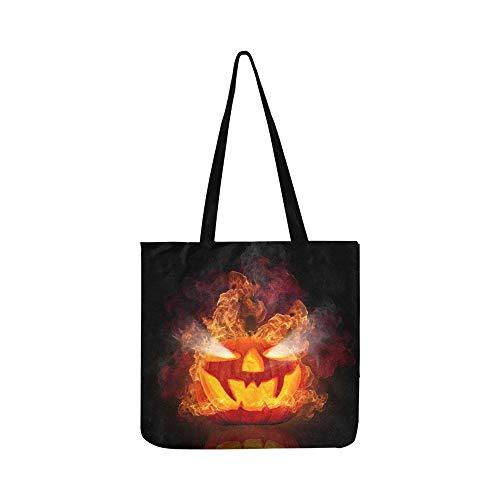 Brennender Halloween-Kürbis lokalisiert auf schwarzem Segeltuch Tote Handtasche Schultertasche Crossbody Taschen Geldbörsen für Männer und Frauen Einkaufstasche (Kürbisse Halloween-gesichter Beängstigend Für)