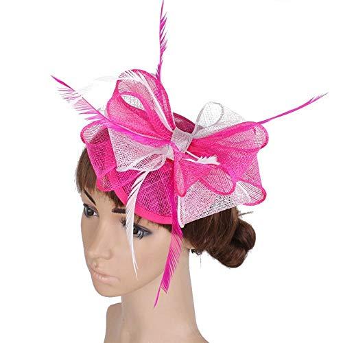 Xiuoamy Damen Elegant Fascinator Hut Blume Mesh Braut Haarschmuck Durchführung Headwear Bankett Hut,2