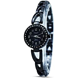 Luxury Fashion Style Ladies Wrist Watch Black Strap Round Analog Dial Face Quartz