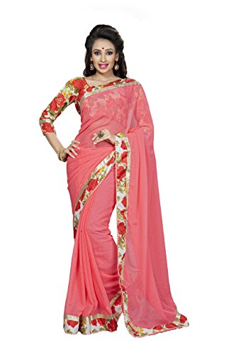 Soru Fashion women's Faux Georgette Jacquard Party Wear Saree (D-3022_PeachPuff_Color)  available at amazon for Rs.599