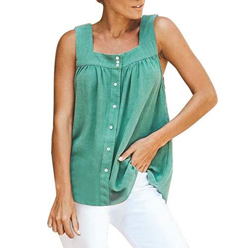 Oksea T Shirt Damen Ärmellos V-Ausschnitt Knopfleiste Bluse Solide Tunika Sommer Tops unten V-Ausschnitt Leopard Print Tank Tops lose beiläufige ärmellose Blusen -