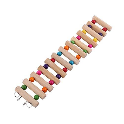 3 Tamaños Escalera colgante para mascotas Escaleras de hámster Puente colgante de madera Pasos Escaleras Escalada Columpio Escalera de escala Puente de aves Hamster Roedor Juguetes (L(13pcs,6*30cm))