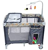LULLABYZ Baby Playpen Portable Playard/Folding Bed Cot/Convertible Crib with Mosquito Net and Detachable