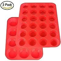 Powerman Kitchen Teglia muffin/ Stampo antiaderente per muffin/ Teglia per cupcake/dolcetti realizzata in silicone alimentare di alta qualità, antiaderente e privo di BPA, Set da 2 Teglie da 12 e 24 stampini (Set da 2 Teglie (Rosso))