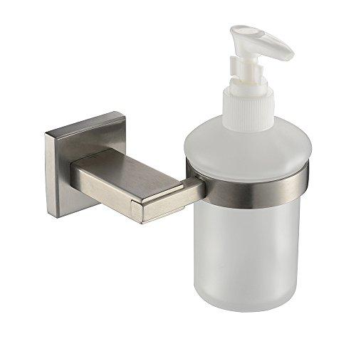 acciaio inox 304 spazzolato vetro smerigliato sapone dispenser parete bagno montati accessori base rettangolare per Residence Inn 115 * 95 * 150 MM-YU&XIN