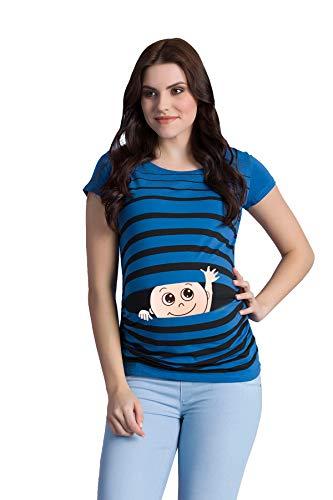 M.M.C. Winke Winke Baby - Lustige witzige süße Umstandsmode gestreiftes Umstandsshirt mit Motiv für die Schwangerschaft Schwangerschaftsshirt, Kurzarm (Dunkelblau, Large)