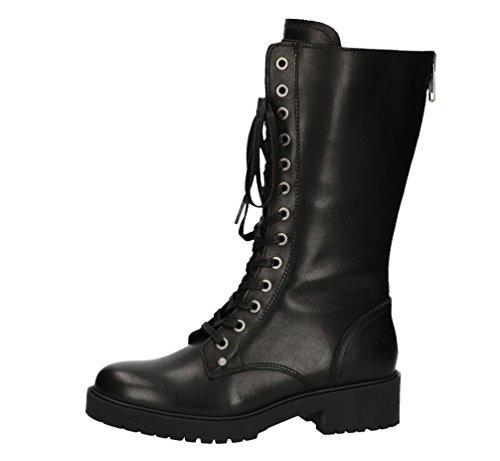 BULLBOXER Damen Stiefel 387513E7L,Frauen Stiefel,Langschaftstiefel,Schnürboots,Bootie,Reißverschluss,Schwarz,EU 37