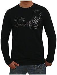 S&LU Angesagtes Herren Langarm Shirt Longsleeve mit genialem Skorpion Brust Print