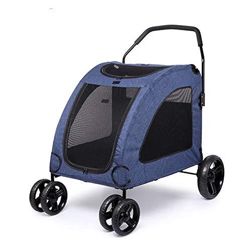 Wcxxhy Haustier Kinderwagen Kinderwagen Träger Haustier Wagen Klapp Hund Katze Trolley Anhänger Buggy Kinderwagen (Color : Blue)