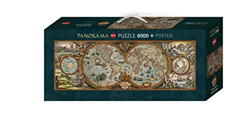 Heye 29615 - Rajko Zigic, Hemisphere Map, 6000 Teile Panorama Puzzle (3000 Weltkarte-puzzle)