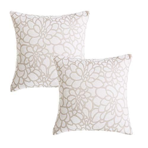 Mrniu confezione da 2 cuscino casi elegante decorativo cuscino 45,7 cm 50,8 cm 100% cotone divano home decor con cerniera invisibile, 2pcs-white-1, 18 x 18 inch,non include cuscino