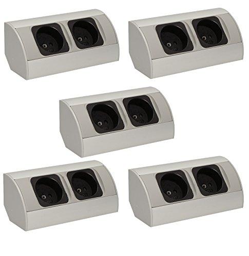 5x Eck-Steckdose 2-Fach-Schuko, Aluminium, für Küche, Bad, Möbel. Doppelsteckdose ideal für Küchen-Arbeitsplatte als Aufbau-Unterbau-Steckdose. (5 x 2 Fach Steckdose)
