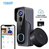 【32GB Preinstalled】Video Doorbell, KAMEP 1080P HD WiFi Doorbell Camera Wireless IP65 Waterproof with Indoor Chime, Real-time Two-Way Talk & Video, PIR Motion Detection, Night Vision, 166°Wide Angle