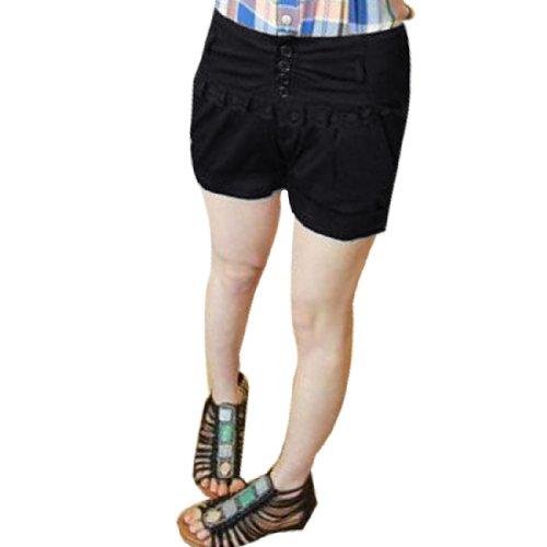 Lady Biais Poches Front côtelé Lacets Décor Short Été Pantalon Noir XS Noir