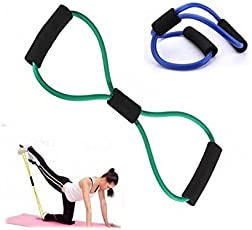 Exercise Rope by Hub2home | Body Building Training Toning Tube | Premium Rubber Pull String | Resistance Band (Eight Shape, Multicolor)