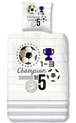 Aminata Kids Bettwäsche 135x200 cm Kinder Junge Fußball Champion Baumwolle Reißverschluss |inkl Gratis E-Book| Kinderbettwäsche Tor Pokal...