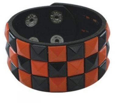 3 Row Black And Orange Pyramid Stud Wristband/Wrist