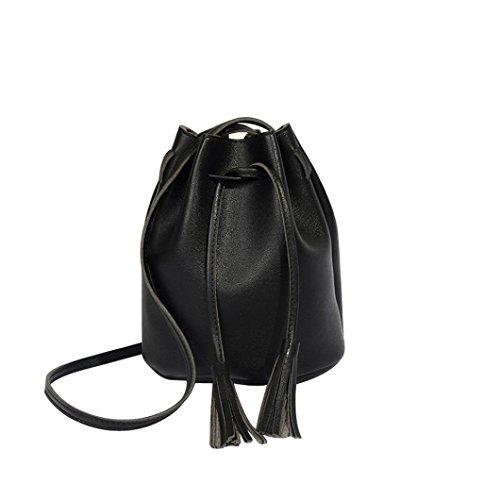 Longra Damen Beuteltasche Bucket Bag Frauen Tote Schulter Handtasche Retro Mode Drawstring Eimer Tasche Große Schultertasche PU Leder Hobobag mit Fransen Bommeln Ledertasche (Black) -