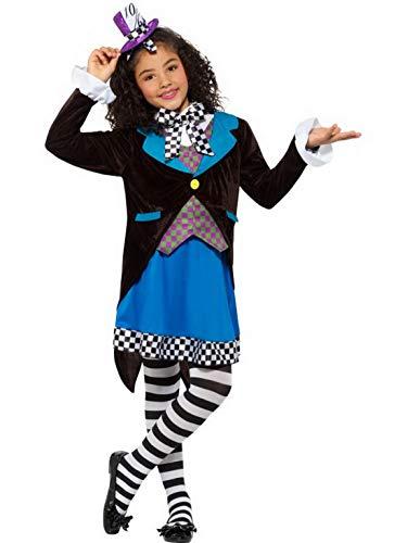 Halloweenia - Mädchen Kinder Little Mad Hatter Kostüm Deluxe mit Kleid, Frack und Hut perfekt für Karneval, Fasching und Fastnacht, 122-134, Blau