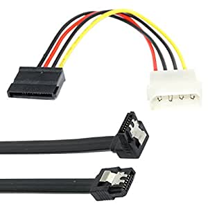 Storite SATA 3 Data Cable with 90 Degree Latch + 4 Pin Molex to 15 Pin Power Cable Combo (Black)