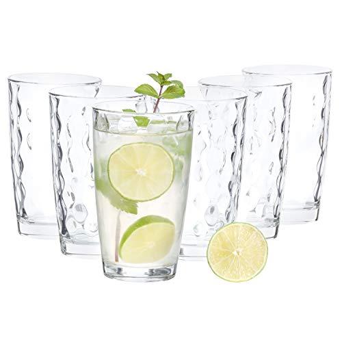 Van Well 6-tlg. Gläserset Silk Cooler | Bormioli Rocco | 470 ml Longdrink-Glas für eisgekühlte Cocktails & Soft-Drinks on Ice | Wabenstruktur | 80er-Jahre Soft-drink-glas