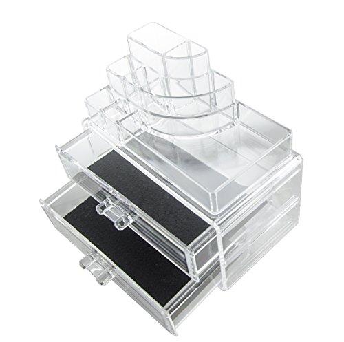 Feibrand Organisateur Cosmétique Maquillage 2 Tiroirs Transparent