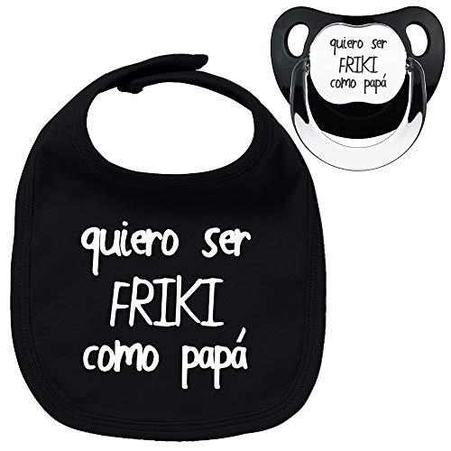 Pack chupete y babero negros Friki como papá