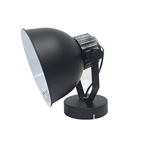 DRULINE Retro Industriedesign Lampe E27 33 x 25 cm Schwarz
