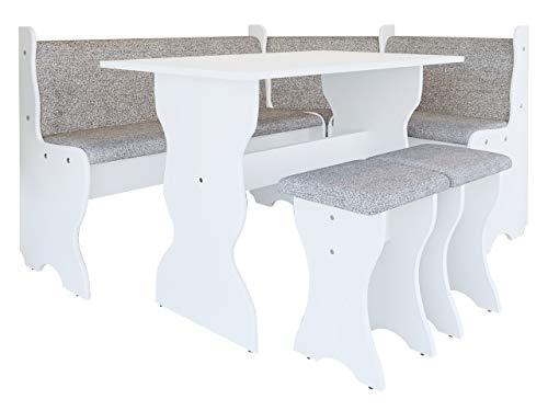 Mirjan24  Eckbankgruppe Thomas, Eckbank Gruppe besteht aus Kücheneckbank, Tisch, 2X Hocker, Esszimmer Sitzbank (Weiß + Alfa 13)