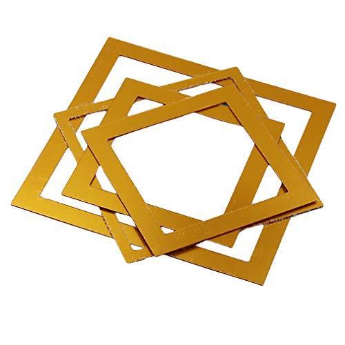 L_shop Hohlquadrat Spiegel Wandaufkleber Abnehmbare DIY 3D Acryl Wandtattoo Kunst Dekoration Wandbild, Gold -