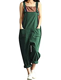 8bbf500e1e07 BBYES Jacansi Women Loose Overall Strap Sleeveless Long Playsuit Jumpsuit  Dungarees