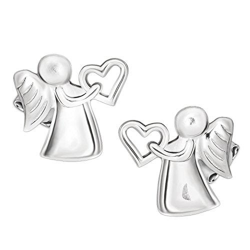 Clever Schmuck Silberne Mädchen Ohrstecker Engel 10 x 10 mm mit Herz in der Hand hochglänzend poliert STERLING SILBER 925