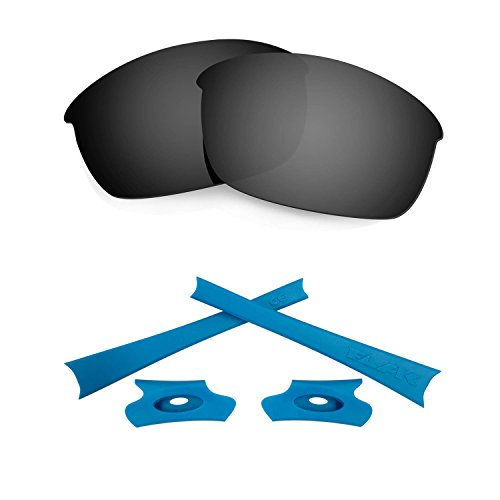 HKUCO For Oakley Flak Jacket Black Polarized Replacement Lenses And Blue Earsocks Rubber Kit
