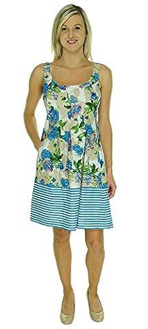 Nine West Floral Striped Sleeveless Women's Sheath Dress #092 Blue 4