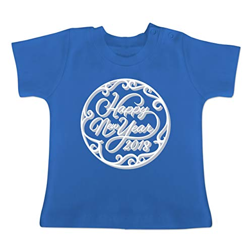 Feuerwerk Kurzarm-t-shirt (Anlässe Baby - Happy New Year 2018 Ornamente - 1-3 Monate - Royalblau - BZ02 - Baby T-Shirt Kurzarm)