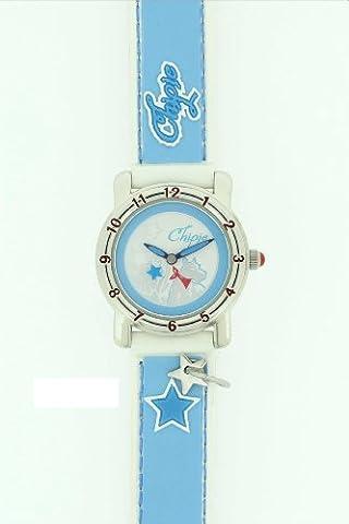 Chipie - 40375 - Montre Enfant / Junior - Quartz Analogique - Cadran Bicolore - Bracelet Cuir Bleu / Blanc