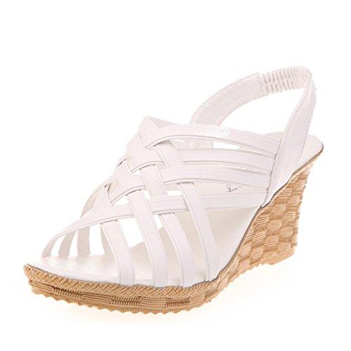 Sandalen Damen,Binggong Frauen hohe Plattformen Ausschnitte Muster karierten Gürtel Gladiator Sandale Schuhe Hochhackige Sandalen Mode Sandalette Elegant Berufssandale Stilvoll (Weiß, 37) (Heel Gladiator-sandalen)