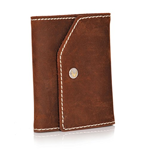 DONBOLSO Mini Geldbeutel Herren RFID 10 Karten Geldbörse Kartenetui mit Münzfach Leder Portemonnaie Männer Klein Slim Wallet Braun (Kleine Leder)
