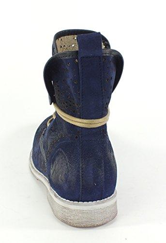 6930 MACA Kitzbühel Leder Stiefelette Boots blau Blau
